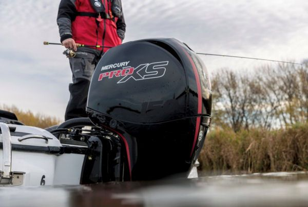 The Mercury 150 Pro XS is a high-output 150-hp 4-stroke and Mercury Marine says the inline-4, naturally aspirated outboard meets the company's standards for hole shot, top-end speed, and durability. Calling it a high-output outboard means Mercury can deliver peak power 10% higher than the rated horsepower and be in compliance with SAE standards.