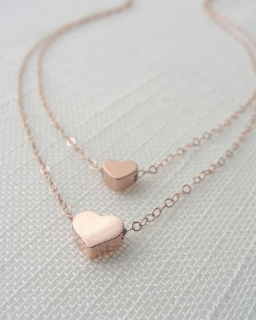 Rose Gold Double Heart Necklace//