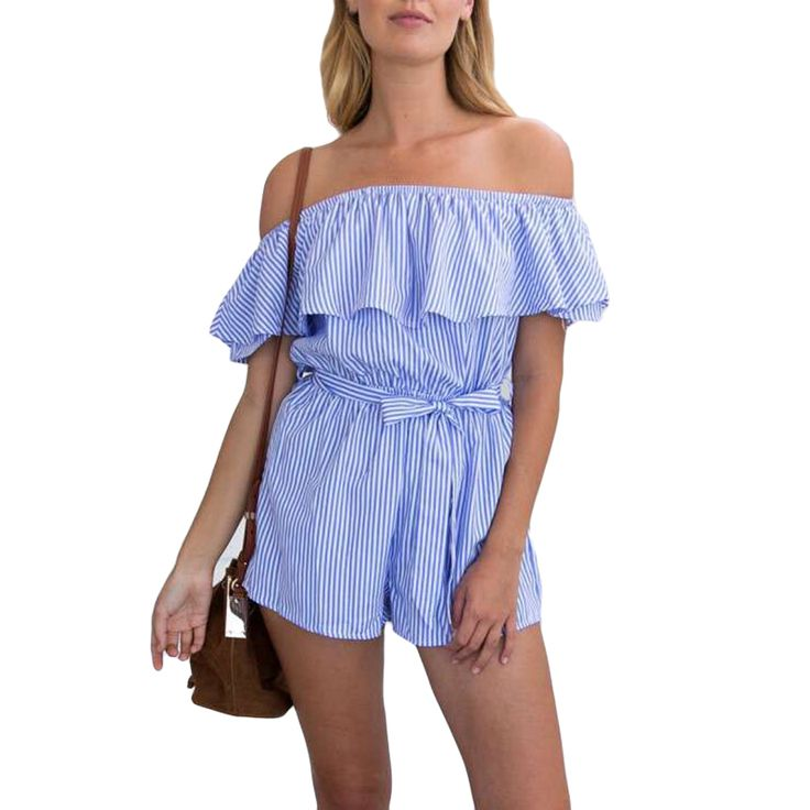 ff3c14a46afb 2017 New Fashion Jumpsuit Women Off Shoulder Elegant Striped Jumpsuits Blue Romper  Summer Bodysuit Beach Slim