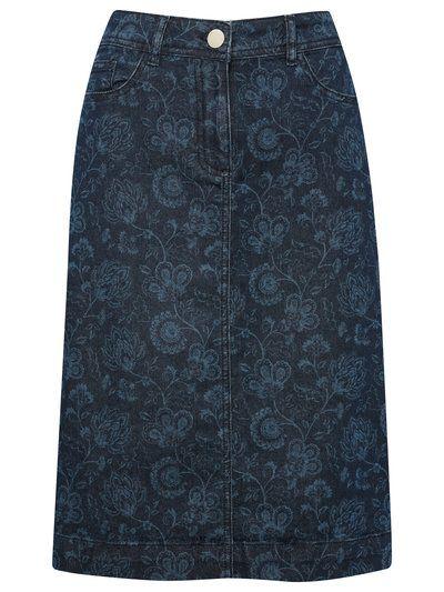 683c05e858f3 Floral Print Denim Pencil Skirt   Women's Skirts   M&Co   Trends for ...
