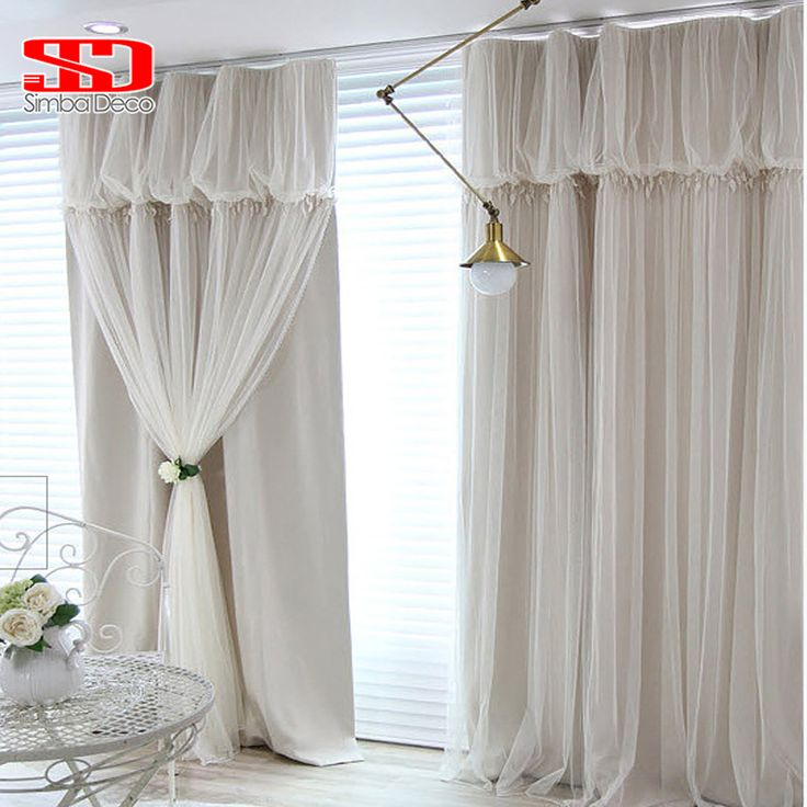 Solid Lace Tassels Korean Voile+Cloth Curtains Set for Living Room Ready Blackout Drapes Window Tulle Shading 90% Bedroom Panel