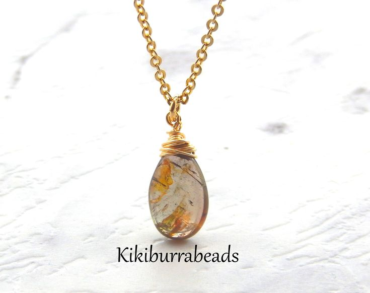 Andalucite Necklace,Andalucite Jewelry,Brown,Wire Wrapped Gemstone Necklace,Gold Filled by Kikiburrabeads on Etsy