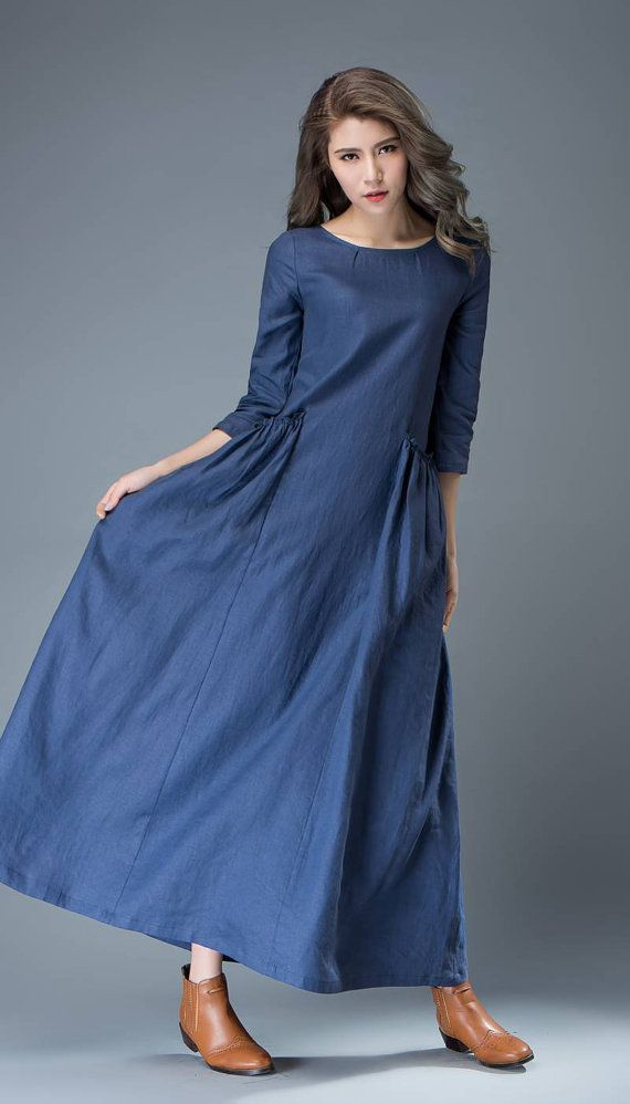 Maxi robe en lin bleu robe Cobalt Long Lagenlook printemps