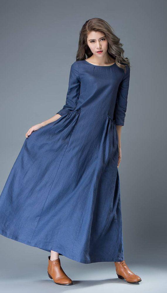 Maxi Blue Linen Dress  Cobalt Long Lagenlook Spring Summer