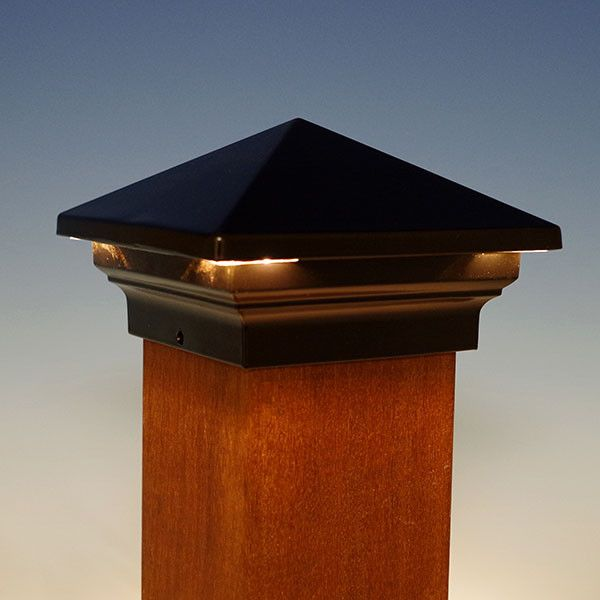 venus pyramid led post cap by aurora deck lighting black