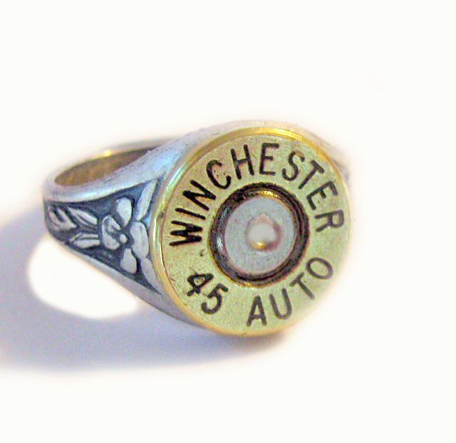 Winchester 45 Auto Bullet Ring  Gorgeous mixed metals via etsy lizzybleu