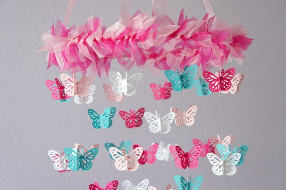 Nursery Mobile - Hot Pink  Aqua Butterfly Mobile