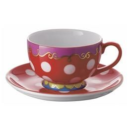 the red, purple and green represent a split complementray tea cup :) adds interest to the teacup, making it pop with the bright colors