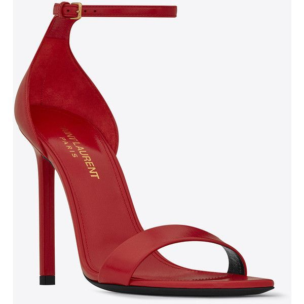 Saint Laurent Amber ankle strap 105 sandal in red leather (20,080 CNY) ❤ liked on Polyvore featuring shoes, sandals, heels, red, leather sandals, yves saint laurent shoes, real leather shoes, leather sole sandals and red leather shoes