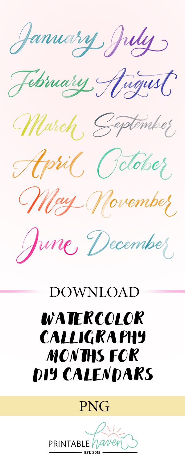 Watercolor Calligraphy Months Lettering Calligraphy Fonts
