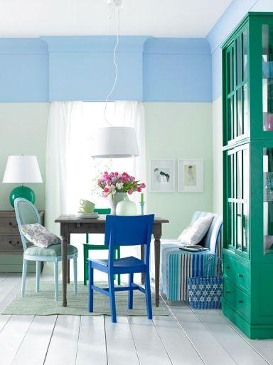 Saftiges Grün und kräftiges Blau