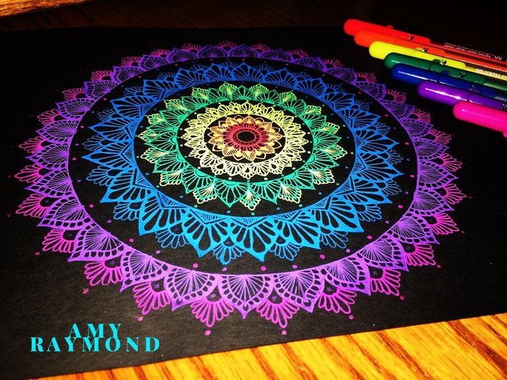 #mandala #sketch  by Amy Raymond 3/5/17.  #rainbow #glow  #doodle #inkart #mixedmedia #art #artismytherapist #zen #draw  #moonlight #gellyroll