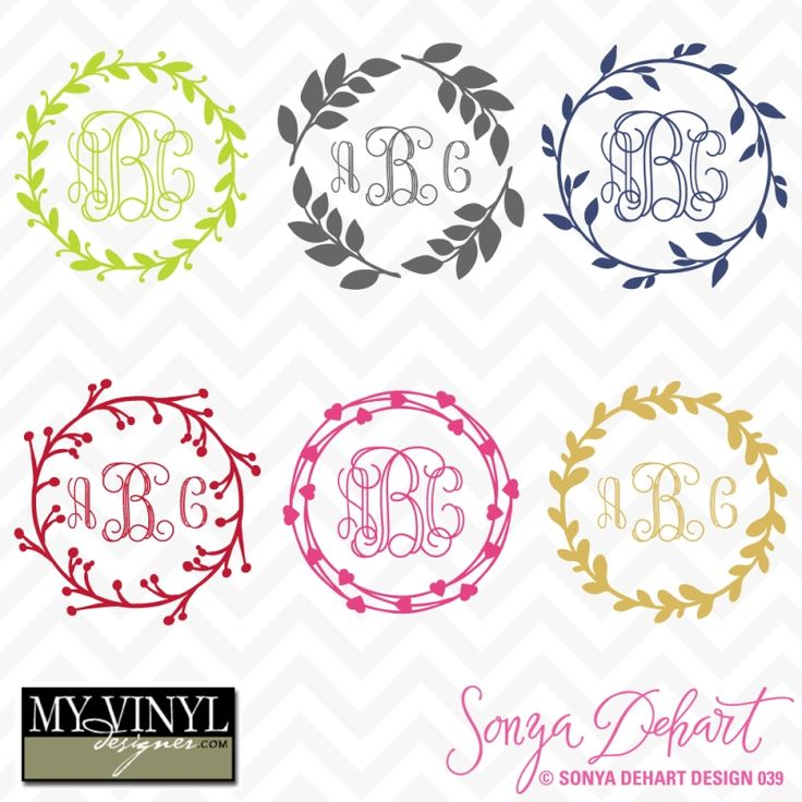 DIGITAL DOWNLOAD ... Monogram vectors in AI, EPS, GSD, & SVG formats @ My Vinyl Designer #myvinyldesigner #sonyadehartdesign