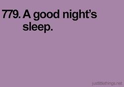 a good night's sleep