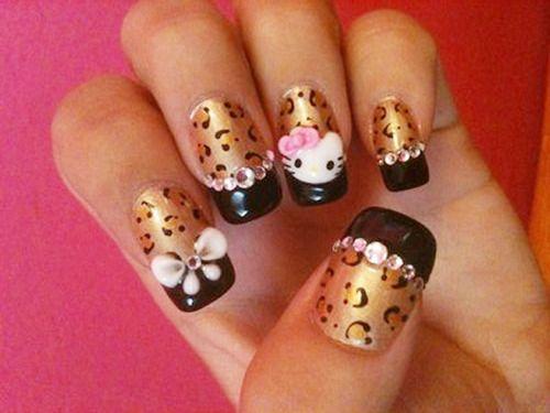 Leopard print hello kitty: Nails Art Ideas, Nails Design, Nailart, French Tips, Leopards Prints, Leopards Nails, Hello Kitty Nails, Cheetahs Prints, Prints Nails