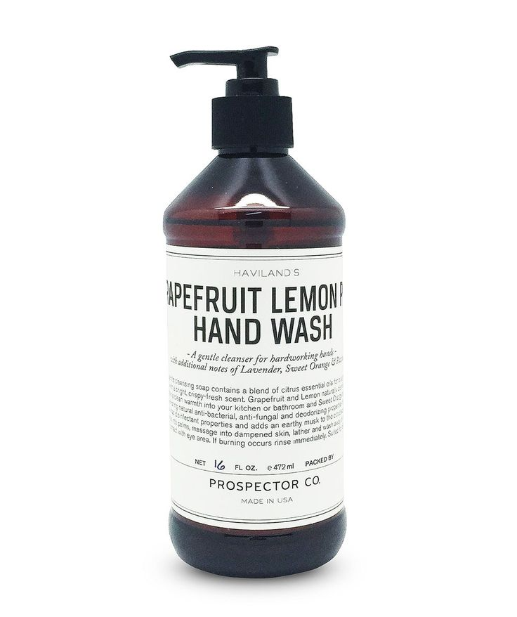 This Grapefruit Lemon Peel Hand Wash from Prospector Co. is a gentle cleansing soap contains a blend of citrus essential oils for a soothing hand wash with a bright, crispy-fresh scent. | huntingforgeorge.com