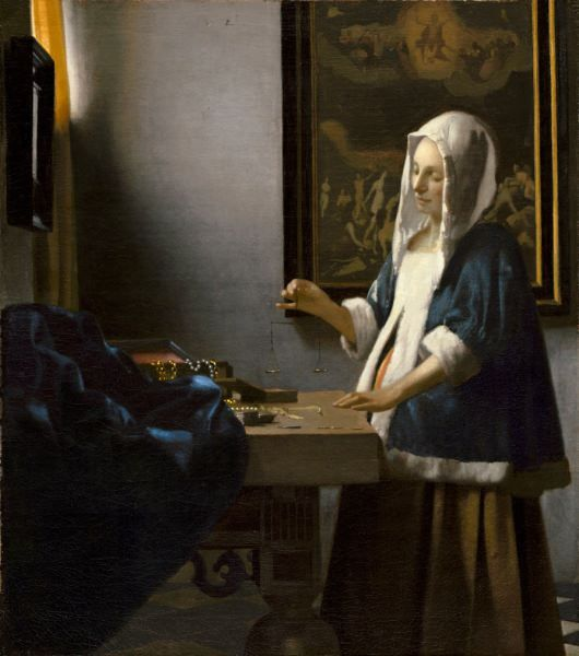 "Woman Holding a Balance c. 1664 Johannes Vermeer  ""Женщина, держащая весы"""