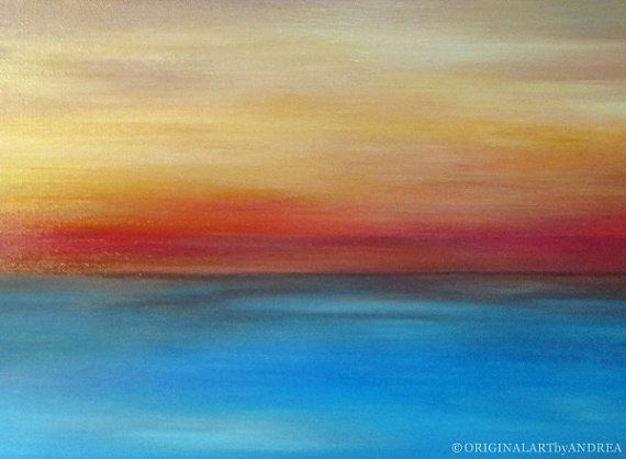 Acrylic Painting Abstract Landscape CONTEMPORARY ART ORIGINAL Abstract Seascape Blue Orange Brown Canvas Art 16x12x1,2 (40cmx30cmx3cm)