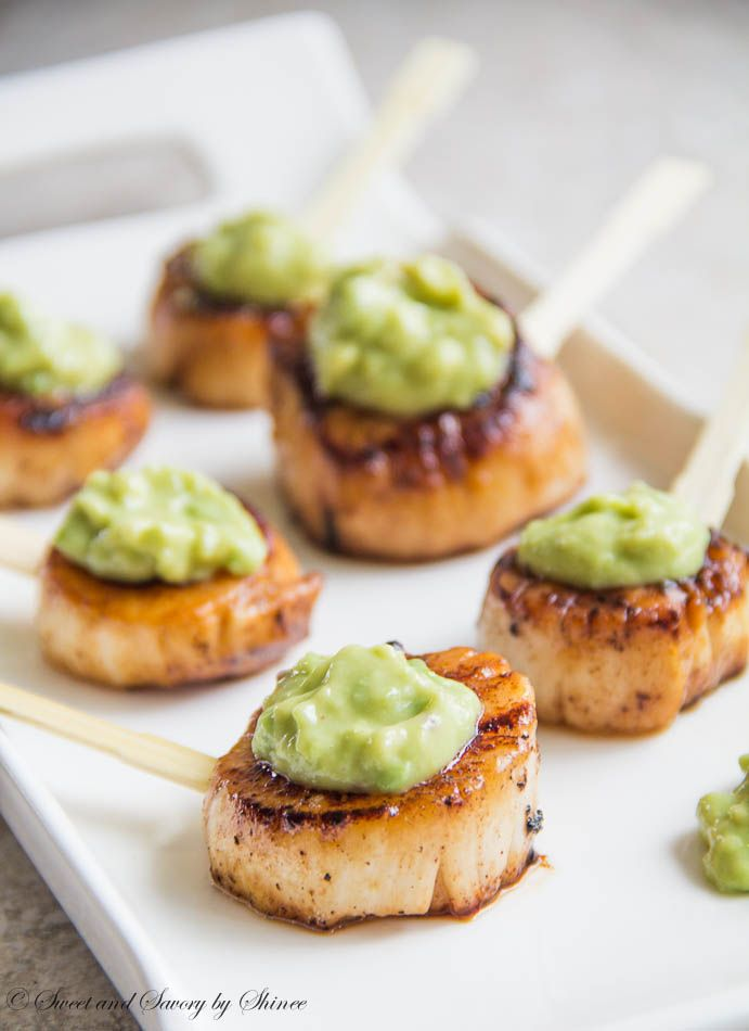 Velvety smooth scallops with beautifully caramelized crust and topped with honey dijon avocado sauce are simple, yet elegant appetizer. ~Sweet and Savory by Shinee