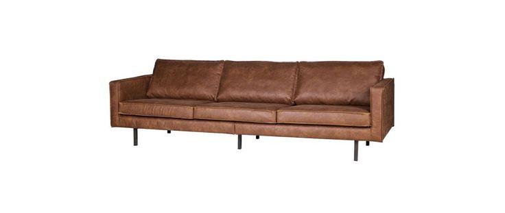 Sofá vintage cuero marrón claro 3 plazas ASPEN - cuero reconstituido