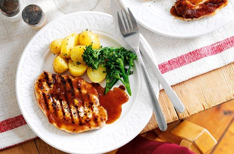 Grilled pork steaks with ginger and orange sauce - Tesco Real Food