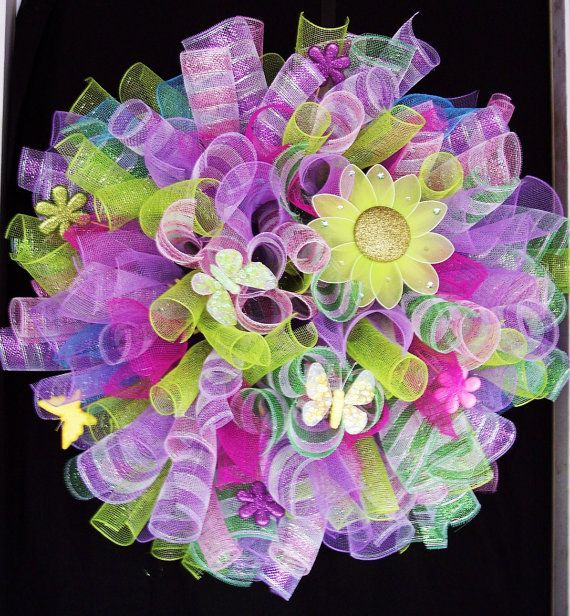 Spring Easter Spiral Deco Mesh Wreath by HippestChickBoutique,