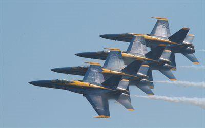Scarica sfondi blue angels, mcdonnel douglas, hornet, combattenti, f / a-18