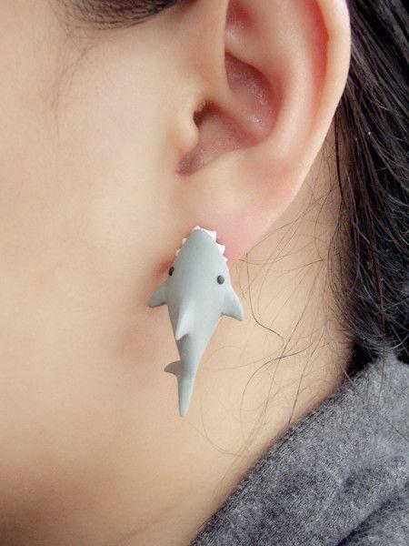 #jewelry #shark #earring #ear #unique #bite #fish #fins
