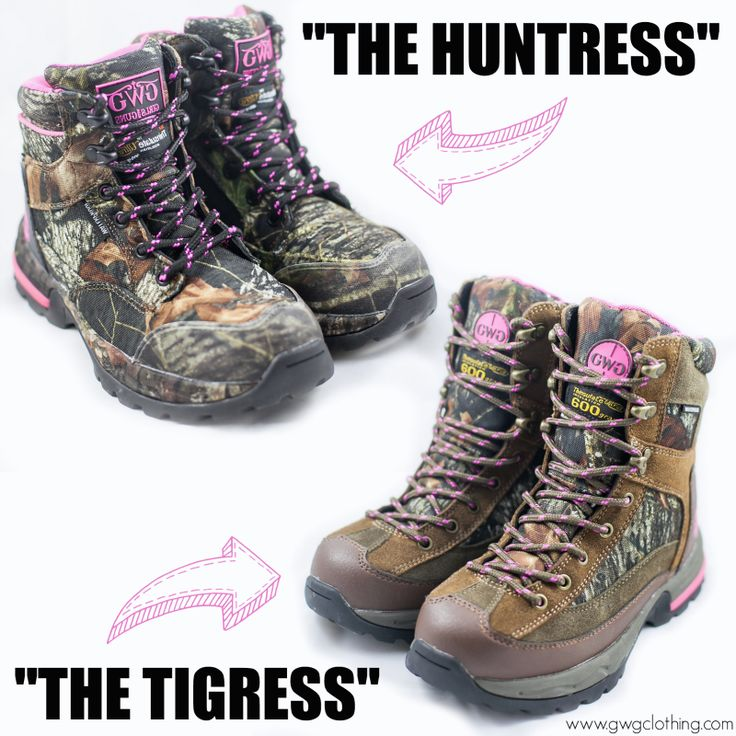 "Which NEW GWG @mossyoak camo hunting boot is your favorite?!? The 6"" Huntress or the 8"" Tigress?  http://www.gwgclothing.com/hunting/footwear"