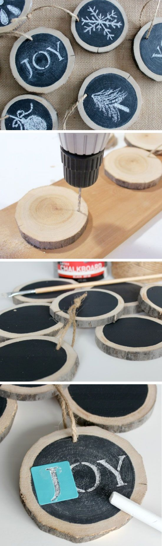 Log Slice Chalkboard Ornaments | Click Pic for 20 DIY Christmas Tree Decorations to Make | Cheap Christmas Tree Decorating Ideas Dollar Stores