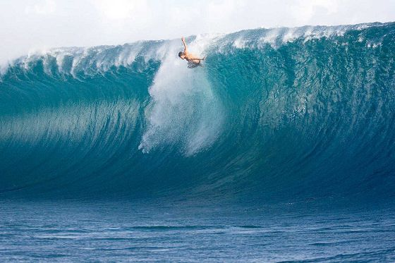 Bruce Irons about to wipe out in Tahiti.