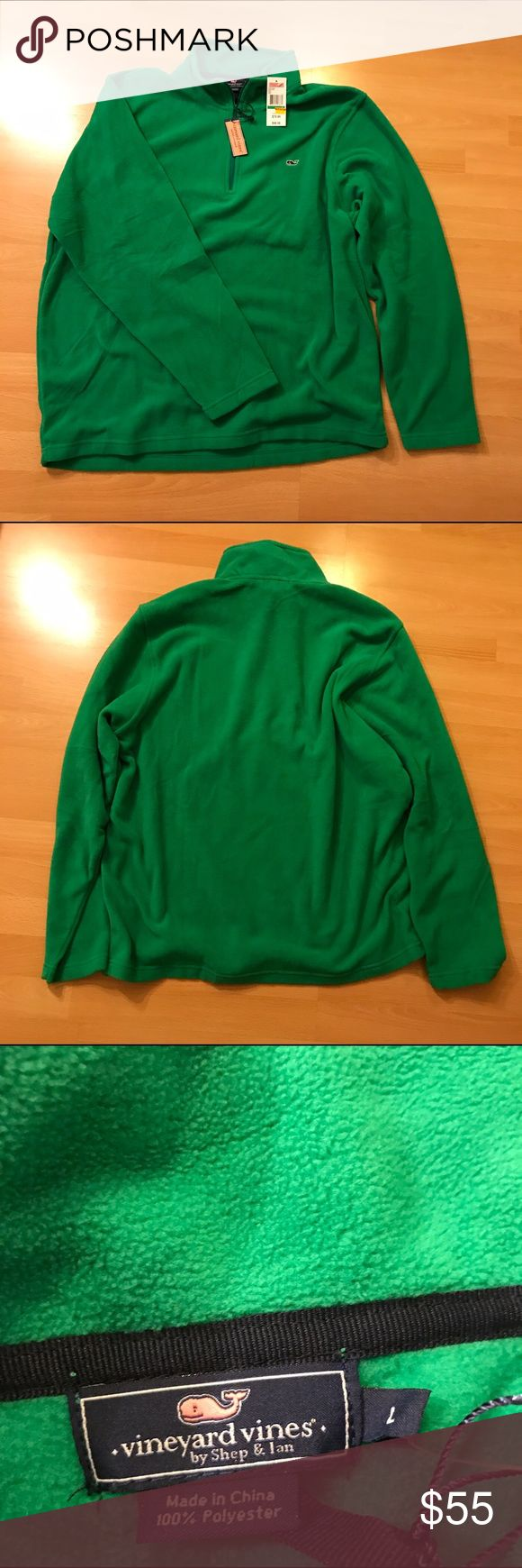 Vineyard Vines 1/4th Zip Pullover For sale is a new with tags Vineyard Vines 1/4th zip pullover. Color is green fern with embroidered whale logo on the front. Material is polyester fleece. Message if any questions. Vineyard Vines Jackets & Coats