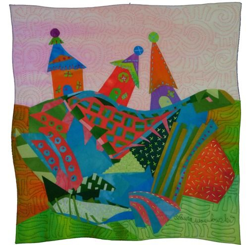 art quilts | Tumblr: Idea, Quilts Houses, House Quilts, Art Quilts, Landscape, Fabric, Fiber Art, Art Quilting