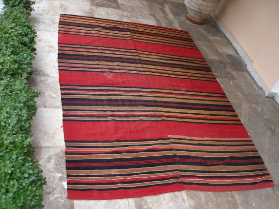 Cottage chic Decor, Rustic Decor, Mediterranean Decor, Antique Anatolian Kilim Rug  Striped  by VintageHomeStories,