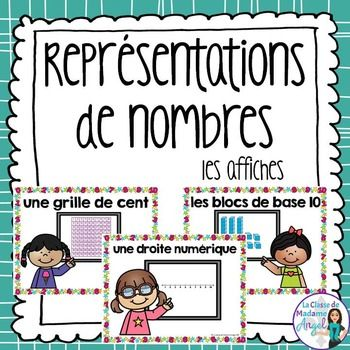 Teaching number representation in French?  This set of 10 posters provides a great reference for students.  Based on the Ontario Curriculum, it includes a page for the following ways to represent  numbers, as well as a title page:- les traits- une grille de cent- un cadre  dix cases- les mots- les chiffres- les pices de monnaie (Canadian coins)- une droite numrique- un dessin- les blocs de base 10- les cubes- les ds- les doigts- les dominosI have also included a graphic organizer.