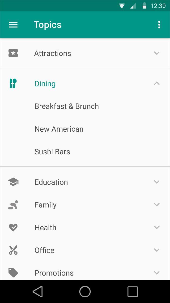 expandable list material design - Google Search