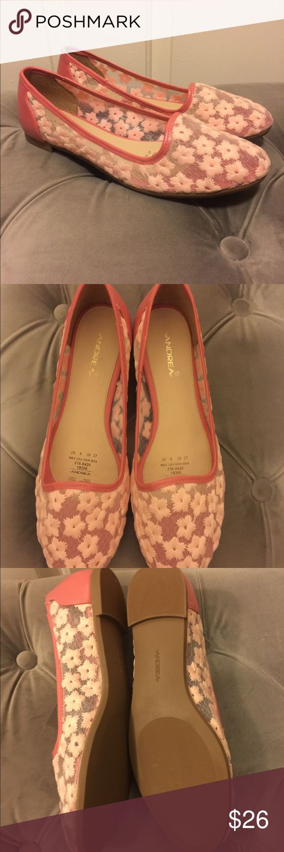 Pink flower lace flats Brand new. Hand made from Mexico 🇲🇽 too small for me. Stunning flats for any occasion. Andrea Jovine Shoes Flats & Loafers