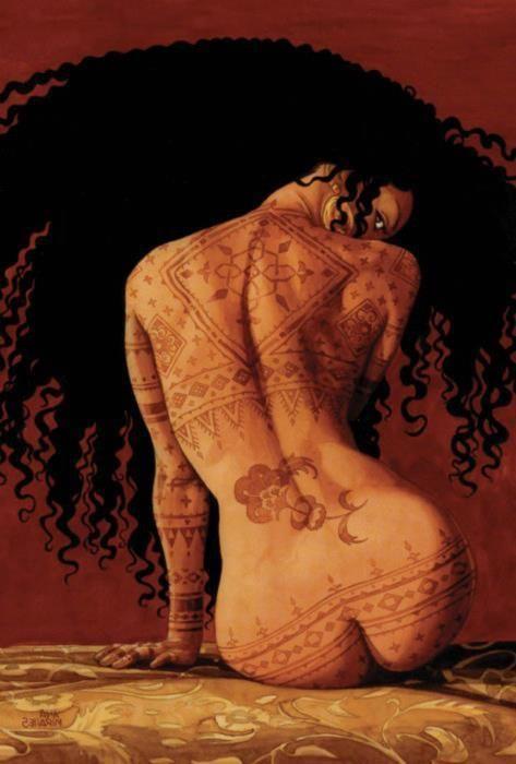 Brief nude, tribal like, eccentric art.
