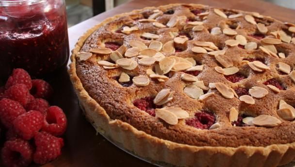 BBC Food - Recipes - Raspberry, peach and almond tart