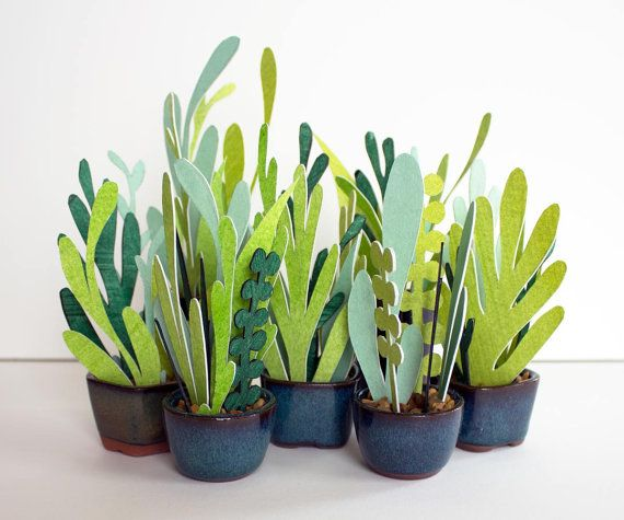Plants you cannot kill : ) Petite Potted Paper Plants by TaylorStonePrints on Etsy, $22.00