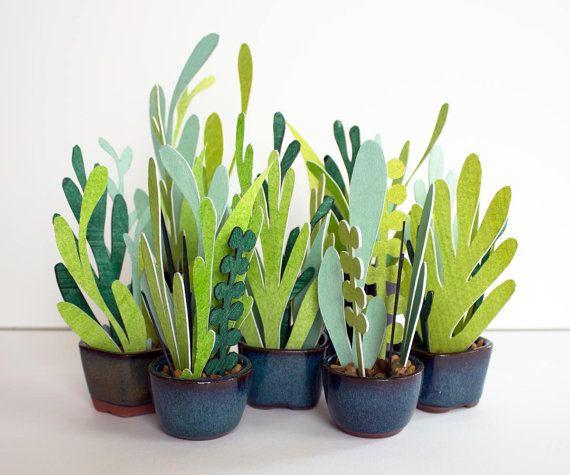 Seven (7) Petite Potted Paper Plants (Hand Cut Paper Flower)