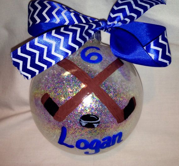 Hockey Ornament Hand Painted Personalized Christmas by KyGirlShop, $10.00