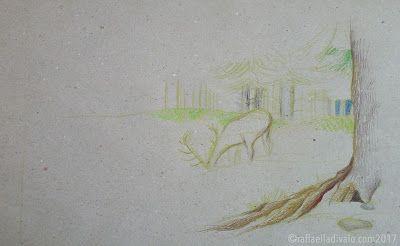 raffaelladivaio*illustrazione e creatività: NEL BOSCO (tempo per me) BOSCO matite e pastelli a olio su carta riciclata grigia -colori in corso- ©raffaelladivaio.com2017