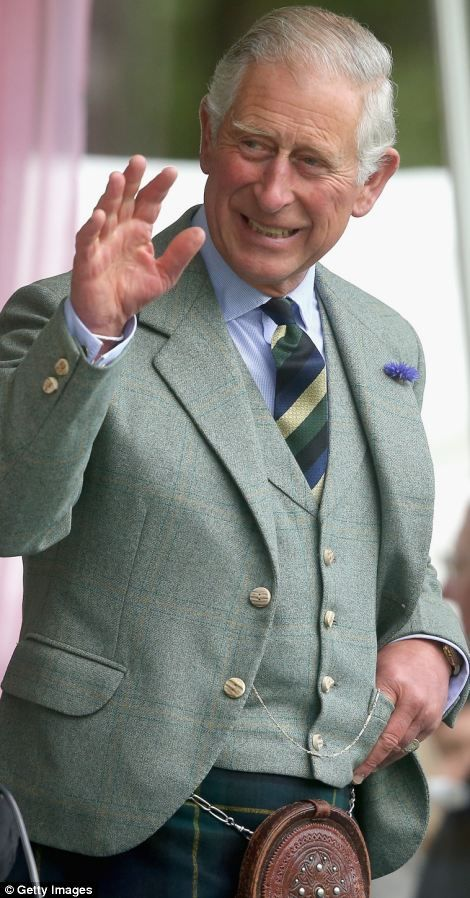 Prince Charles, Prince of Wales waves during the Braemar Highland Games, 2014