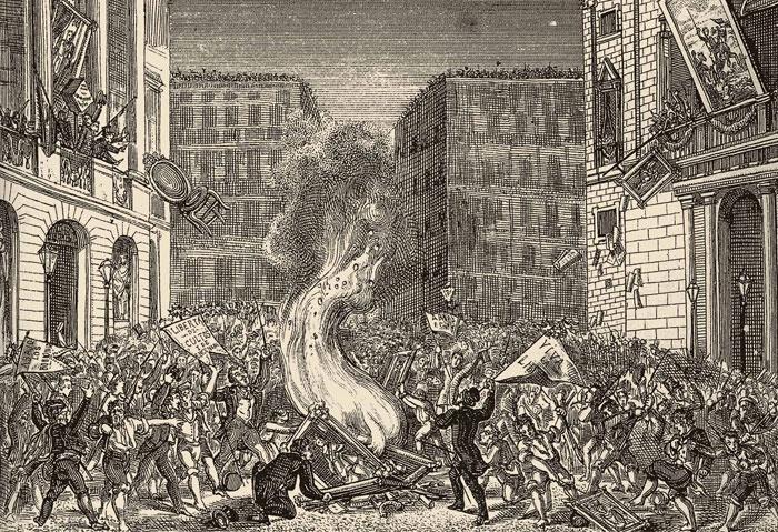 Revolta antiborbònica del 1868    La revolta del setembre del 1868, que va significar el destronament d'Isabel II, va permetre l'enderroc de la ciutadella. Gravat que recull la revolta antiborbònica durant la Revolució de Setembre del 1868 a la plaça de Sant Jaume.
