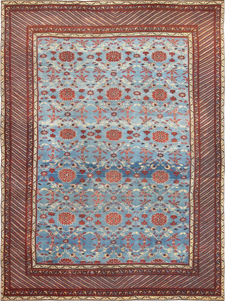 View This Absolutely Jaw Dropping Light Blue Colored Background, Room Size  Antique Indian Agra Rug