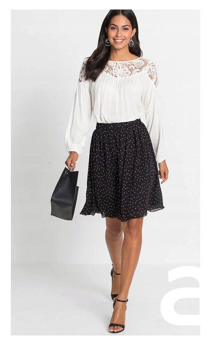adef1c3388591b stylizacja damska, czarna spódnica, elegancka spódnica, spódnica  rozkloszowana, spódnica w kropki