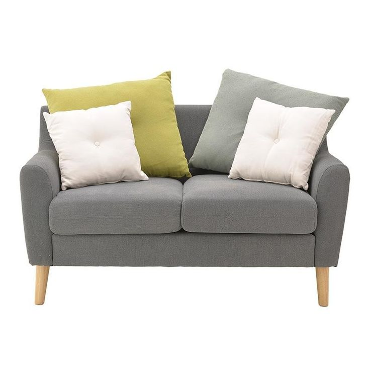 FABRIC 2 SEATER SOFA IN GREY COLOR 138Χ88Χ91 - Couches - Daybeds - FURNITURE