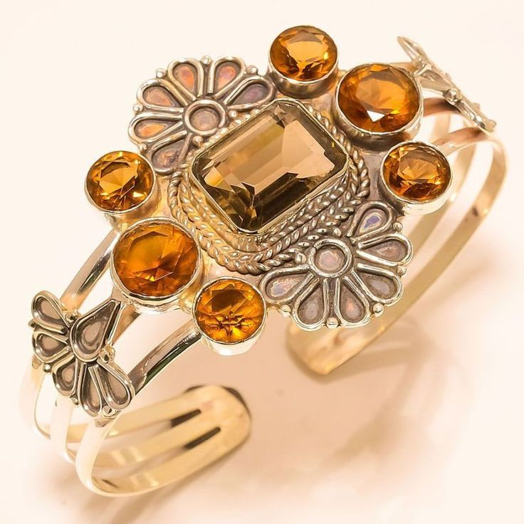 "SMOKEY TOPAZ, CITRINE VINTAGE STYLE CUFF 925 STERLING SILVER BRACELET 7-8"" in Jewellery & Watches, Fine Jewellery, Fine Bracelets | eBay"
