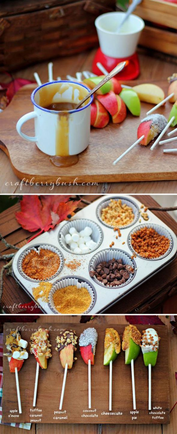This DIY caramel apple bar is PERFECT for your next Fall get together. Give your guests something fun to do that they'll be talking about all season long. These Fall Party Ideas Are AMAZING! Everything is so cute and I love how it's also for adults and not just children, FINALLY!